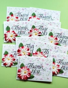 Gorgeous Mini Floral Thank You Cards- Set of 10