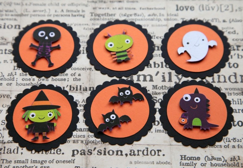 halloween tags- witch ghost skeleton bats dinosaur