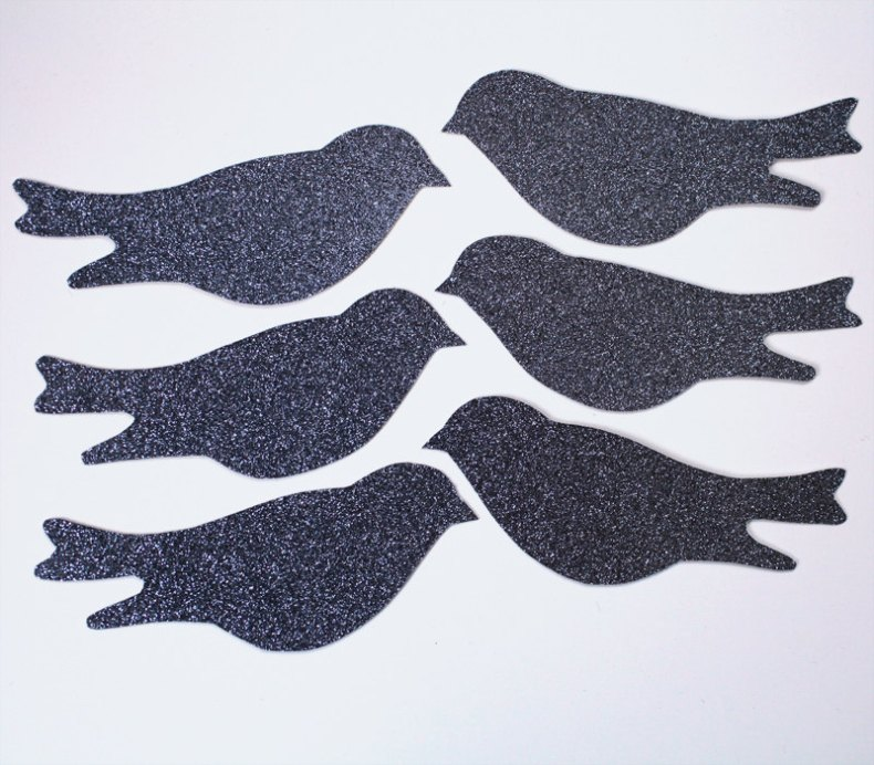 glittery charcoal birds for wedding