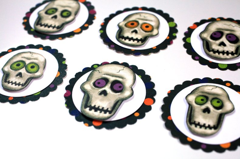 Skull Halloween Tags- Set of 6 Perfect for Card-Making, Scrapbooking, Altered Art and more