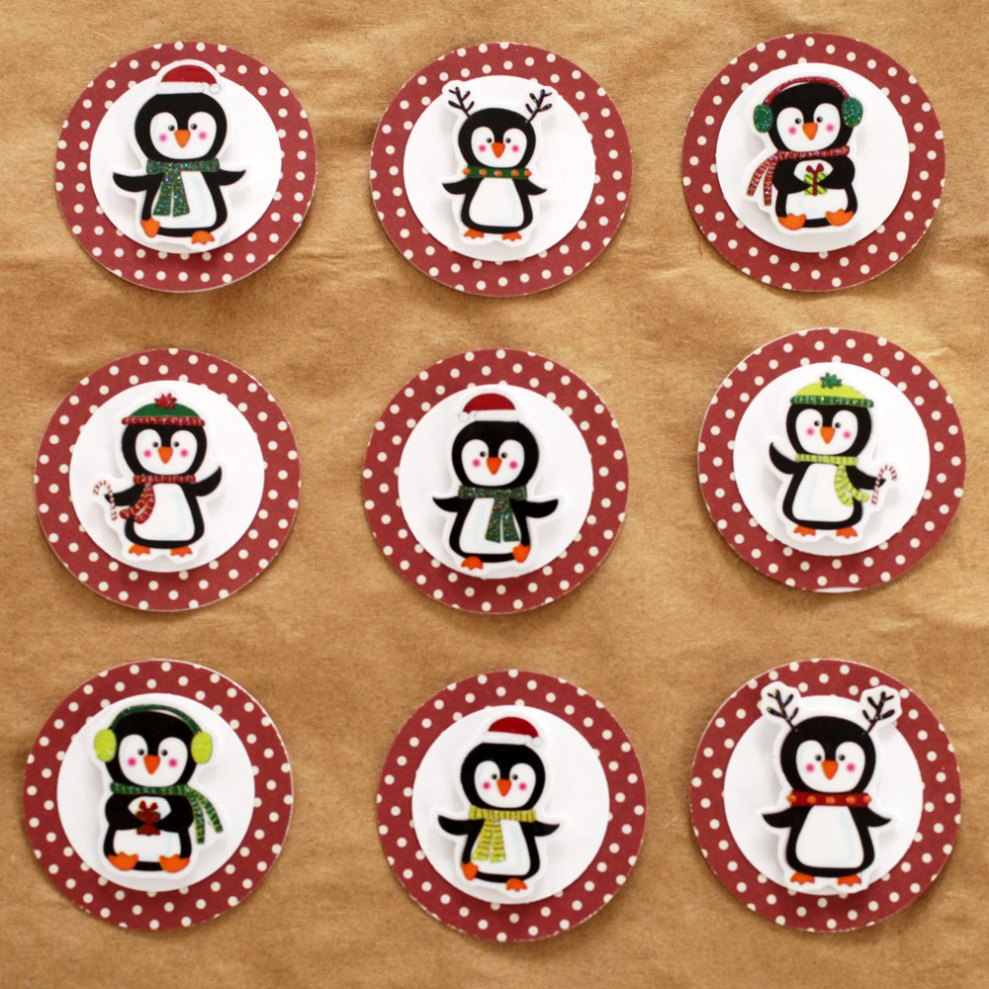 Penguin Christmas Holiday Gift Tags- Set of 9, perfect for scrapbooking, card making, gift giving and more