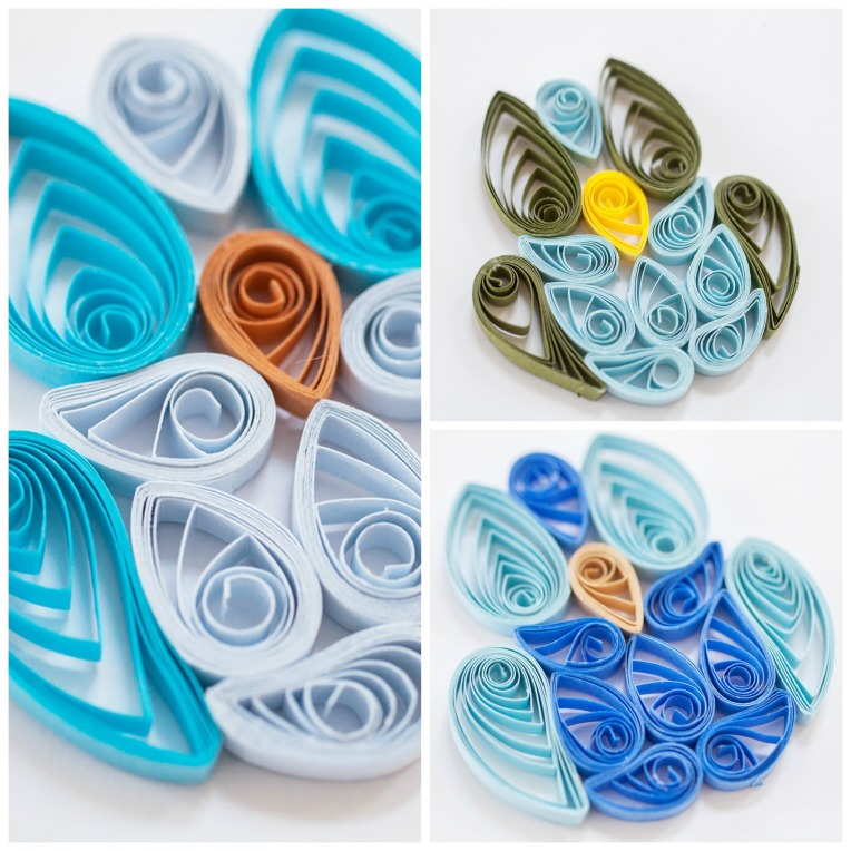 Set of 3 Blue Quilled Owl Scrapbook or Card Embellishments