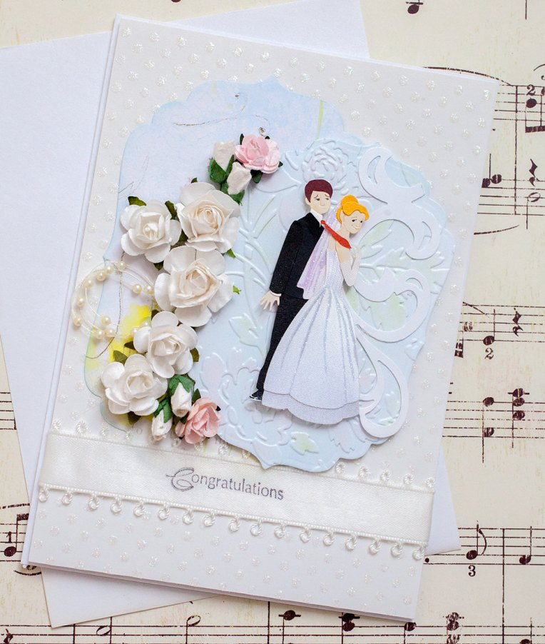 Fun Wedding Card with three dimensional flowers.