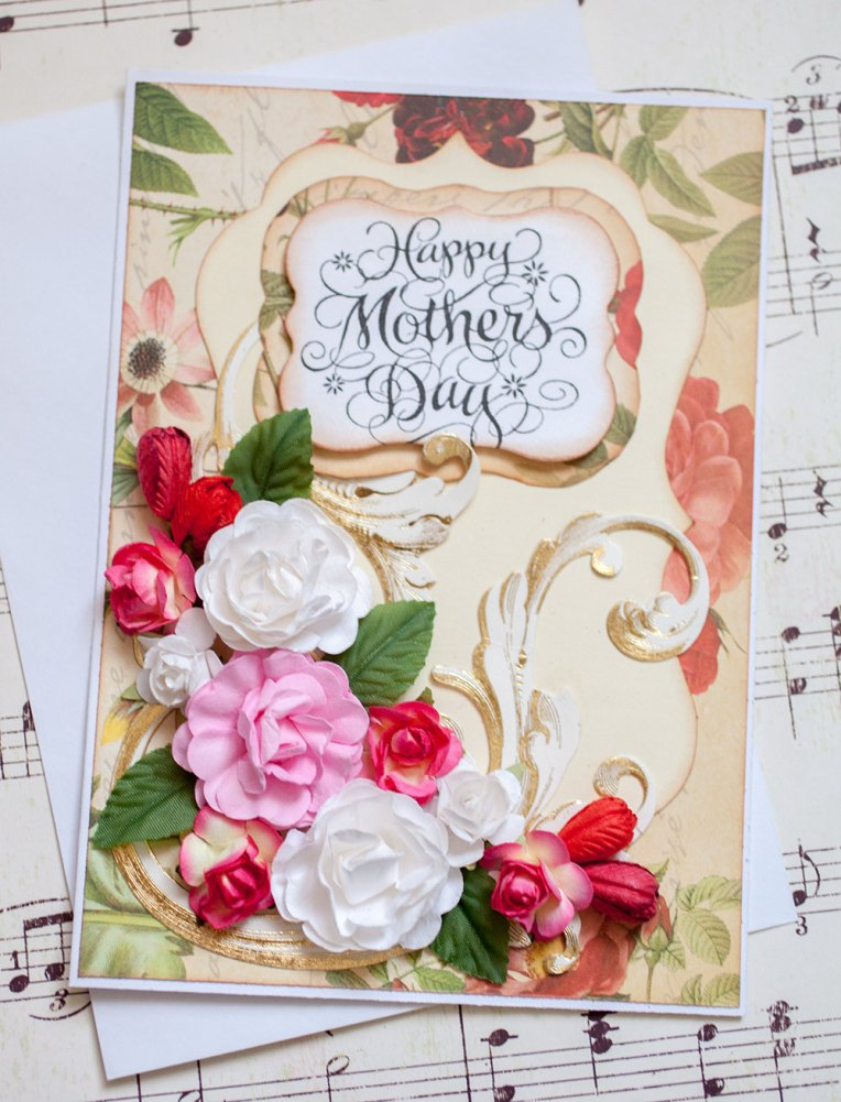 Gorgeous Three Dimensional Floral Mother's Day Card with Paper Roses, Tulips, Flowers
