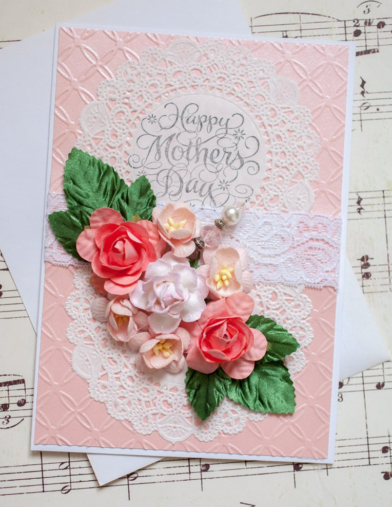 Beautiful Hand Stamped Mother's Day Card with 3D paper flowers and beaded stick pin