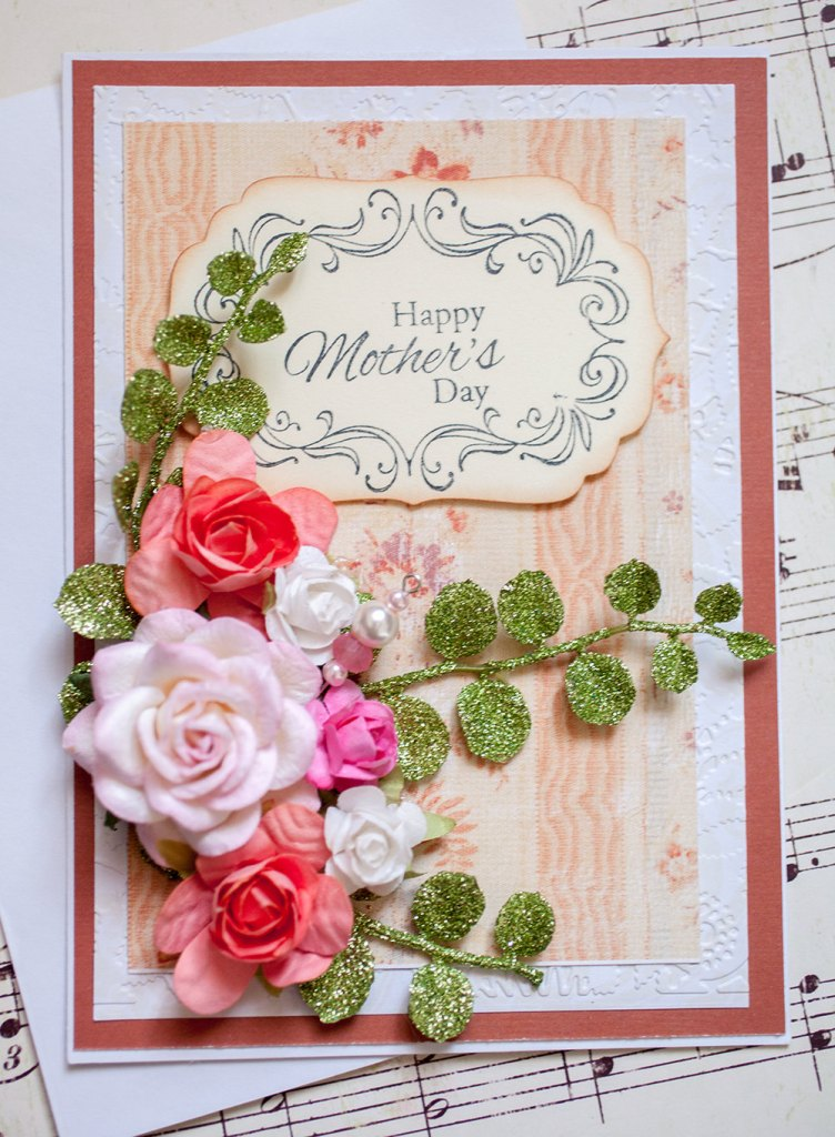 Beautiful Hand Stamped Mother's Day Card with paper flowers