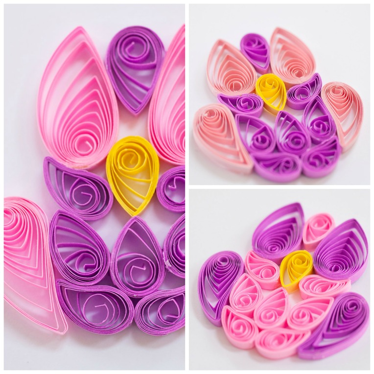 Set of 3 Pink Quilled Owl Scrapbook or Card Embellishments